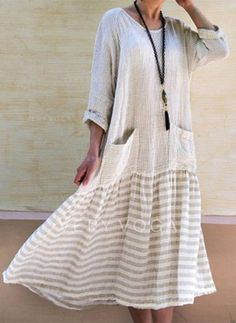 06aa7485a85f VONDA Women Vintage Long Dress 2018 Casual Long Sleeve Stripe Patchwork  Loose Dresses Party Vestidos Female Plus Size