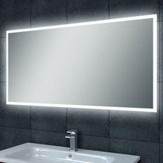 Badkamer spiegel met digitaal klokje en verwarming 120 cm breed ...