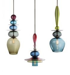 "This Tryptych Stacks light by Esther Patterson for Curiousa & Curiousa are an explosion of colored glass baubles that will light up your room! A 'triptych"" is a work. Pendant Chandelier, Chandelier Lighting, Chandeliers, Luminaire Suspension Design, Deco Design, Design Design, Interior Lighting, Hand Blown Glass, Glass Pendants"