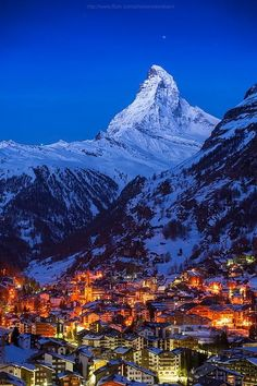 Good night Matterhorn, Zermatt, Switzerland (by Weerakarn). Beautiful and peaceful Zermatt. Zermatt, Places To Travel, Places To See, Places Around The World, Around The Worlds, Wonderful Places, Beautiful Places, Adventure Is Out There, Dream Vacations