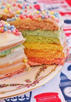 Rainbow cake - Torta arcoiris. Receta fácil.
