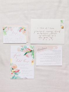 Floral watercolor wedding invitations: http://www.stylemepretty.com/2014/11/04/romantic-spring-hudson-valley-wedding/ | Photography: Ashley Kelemen - http://ashleykelemen.com/
