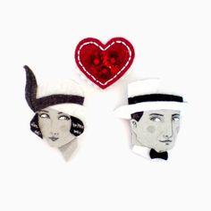 Love story brooches - trio, Vanlentines day, monochrome, Roaring Twenties