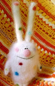 Cute Bunny Coloured Polka Dots - Amigurumi  Stuffed Toys Animals - Gift Ideas for Children - White Rabbit Hare
