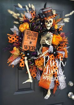 #Pinklimewreaths #Skeletonwreath #Halloweenwreath #skeletondecor #wreathsforsale #Wreaths #halloweendecor #spiderwreath #frontdoorwreaths Halloween Projects, Halloween Wreaths, Fun Halloween Decorations, Angel Halloween Costumes, Skeleton Decorations, Halloween Mesh Wreaths, Halloween Porch, Halloween Skeletons, Halloween Goodies