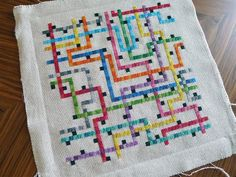 Tokyo Subway Map in Cross Stitch