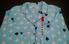 Charter Club Womens Flannel Pajamas 3XL Aqua White Black Sheep Dreams New #CharterClub #PajamaSets