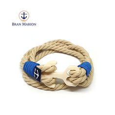 Yellow and White Rope Wrap Bracelet Bronze Anchor Bracelet Surfer Bracelets, Bracelets For Men, Handmade Bracelets, Nautical Bracelet, Nautical Jewelry, Marine Rope, White Rope, Rope Jewelry, Handmade Accessories