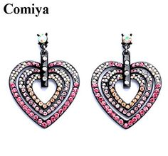 Chokushop New trendy women jewelry accessories pink rhinestone full crystal drop earings heart shape love alloy dangle earrings for women * Learn more by visiting the image link. Note:It is Affiliate Link to Amazon.