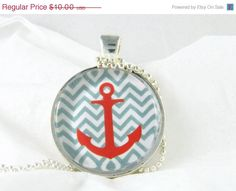 Red And Blue Anchor Necklace Pendant , Glass Bezel Pendant , Glass Art Pendant  Photo Pendant