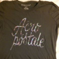 Shirt Aeropostale black XL tee shirt letting is sequience sparkle different colored Aeropostale Tops Tees - Short Sleeve