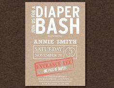 kraft diaper bash baby shower printable invitation on etsy