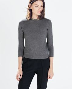 ZARA - SWEATER WITH NECKLACE DETAIL