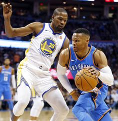 7d58cd01 Oklahoma City's Russell Westbrook (0) works against Golden State's Kevin  Durant (35)