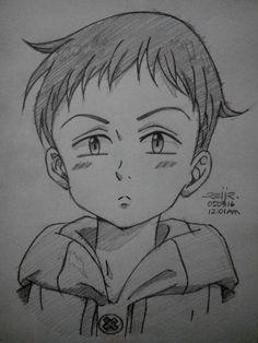 my sketch of king from nanatsu no taizai king: grizzly's sin of sloth Otaku Anime, Anime Art, Anime Chibi, Kawaii Anime, Seven Deadly Sins Anime, Anime Drawings Sketches, Anime Sketch, Naruto Drawings Easy, Pencil Drawings