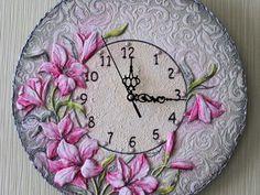 Ручная работа . Ольга Украинская. Handmade. Sculpture Painting, Mural Painting, Mural Art, Murals, Handmade Clocks, Handmade Crafts, Diy And Crafts, Clock Art, Diy Clock