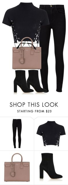 """Untitled #4351"" by maddie1128 ❤️ liked on Polyvore featuring Frame, Glamorous, Yves Saint Laurent, Gianvito Rossi and ZeroUV"