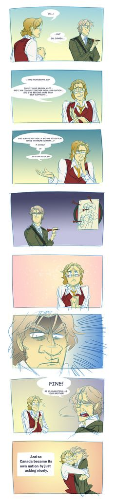 """Hetalia Axis Power Fan Art - """"Canada's Favor"""" (How Canada became a country -. <----- my brother and I were just talking about this lol"""