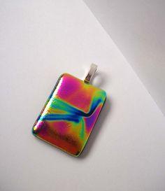 Dichroic pendant hot pink rainbows necklace by GKsArtandDesign