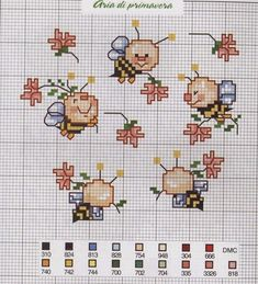 Cross stitch bees in a circle dancing, spring theme with flowers Gallery. Cross Stitch Cow, Small Cross Stitch, Butterfly Cross Stitch, Cross Stitch For Kids, Cross Stitch Cards, Cross Stitch Animals, Cross Stitching, Cross Stitch Embroidery, Cross Stitch Alphabet Patterns