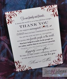 Jar of Ideas: Purple and Red Wedding Thank You poster