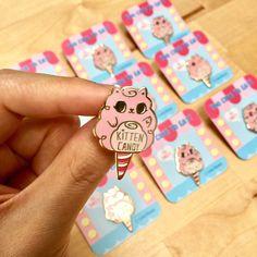 Kitten Candy Hard Enamel Lapel Pin by LindaPanda on Etsy https://www.etsy.com/ca/listing/532536984/kitten-candy-hard-enamel-lapel-pin