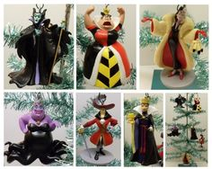 """Disney Villains 6 Piece Holiday Christmas Ornament Set Featuring Little Mermaid's Ursula, Peter Pan's Captain Hook, Alice in Wonderland's Queen of Hearts, Snow White Wicked Witch, Sleeping Beauty's Maleficent, and Dalmatians Cruella Devil - Shatterproof Plastic Ornaments Range from 3.5"""" to 5"""" Tall Villains,http://www.amazon.com/dp/B00FH8UKZK/ref=cm_sw_r_pi_dp_Mh9Hsb1EBMZ0487H"""