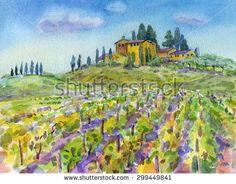 Watercolor Art Landscape Painting Vineyard Fotografie, snímky pro ...