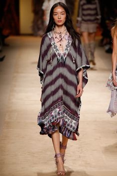 A simple poncho in beautiful fabric with bead and fringe detail : Etro Spring 2015 Style.com