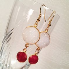 FOREVER YOURS white druzy and ruby earrings by IrkaDesign on Etsy