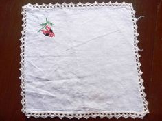 Gorgeous Vintage Hand embroidered Linen Traycloth or Centrepiece - Desert Pea 2