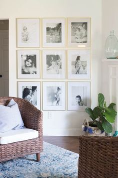 Creating a Grid Style Gallery Wall - Love the black and white photos with the gold frames.