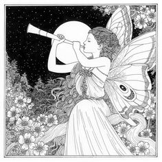 """Faery  Annie Stegg Gerard (@anniestegg) on Instagram: """"I just finished the last illustration for the coloring book. A Farewell Faerie. The book is being…"""" Coloring Book Pages, Printable Coloring Pages, Fairy Coloring, Fairy Art, Digi Stamps, Fantasy Books, Faeries, Foto E Video, The Book"""