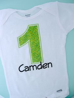 First Birthday Onesie Lime Green Number 1 1st by ThingsVerySpecial, $14.99