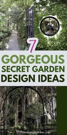 Lots of beautiful ideas for creating a secret garden room in your own backyard. A wrought iron gate looking into a courtyard is something I would love to have in my garden. #fromhousetohome #secretgarden #gardening #gardenideas #outdoorlivingspace #patiosanddecks Privacy Landscaping, Landscaping Trees, Backyard Privacy, Small Backyard Landscaping, Backyard Shade, Backyard Plan, Backyard Retreat, Garden Design Pictures, Charleston Gardens