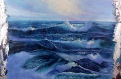 """""""Rebirth"""" large realistic #seascapepainting of #oceanwaves incorporated into fluid abstract background creates a fascinating mixture of fantasy and reality."""