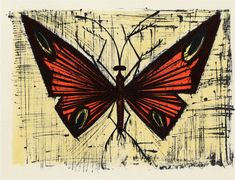 Lithograph reproduction of Bernard Buffet titled : Le papillon rouge et jaune, We also propose for sale a large choice of original works of Art and reproductions by contemporary artists Buffet, Insect Art, Art Original, French Art, Oeuvre D'art, Contemporary Artists, Les Oeuvres, Cool Art, Fun Art