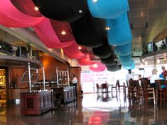 Fabric ceiling draping utilizing Fabric Draper.com's ceiling draping installation kits. www.fabricdraper.com.