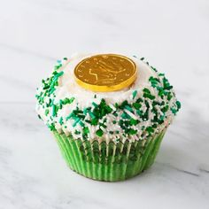 cute idea - chocolate coin on cupcake for st paddys day