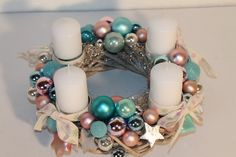 "Adventskranz ""türkis-rose-silber"" - Gifts and Costume Ideas for 2020 , Christmas Celebration Christmas Advent Wreath, Diy Christmas Tree, Christmas Time, Christmas Decorations, Xmas, Turquoise Rose, Christmas Inspiration, Holiday Crafts, Diy And Crafts"