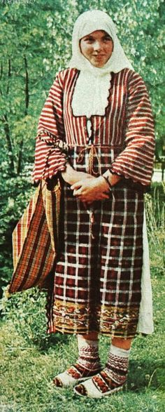 Traditional costume from the Rhodopes (Southern Bulgaria).  Pomak (Bulgarian Muslims), mid-20th century.