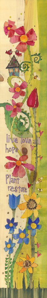 """Painted Peace original on wood used for new Round Peace Garden Pole. 7"""" x 46"""" click on image to enlarge"""
