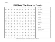 ... on Pinterest | Holiday, Word search puzzles and Martin luther king day