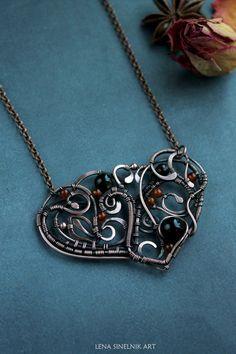 Сarnelian necklace Wire wrap necklace Wire by LenaSinelnikArt