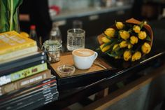 Coffee, books and tulips. What more could you want in Brno – Lera Lazareva Best Coffee, Tulips, Good Things, Tableware, Books, Dinnerware, Libros, Best Coffee Shop, Tablewares