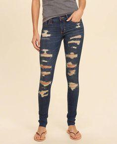 c996926bd2b2 Hollister Girls Shredded Low-Rise Super Skinny Jeans