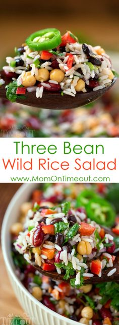 On hot summer nights, turn to this Three Bean Wild Rice Salad for an easy and delicious light dinner recipe that your family will DEVOUR. It also makes the perfect side dish for barbecues, parties, cookouts and more! | MomOnTimeout.com | #recipe #dinner #hungry #ad