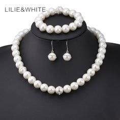 3pcs A set Perfect Round Imitation Pearl Wedding Accessories Statement Bracelet Earrings Necklace Bridal Jewelry Sets