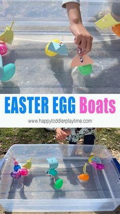 Create a simple Easter egg boat craft for a fun and creative water play during the summer or at bath time! It's the perfect way to use and play with plastic Easter eggs! activities for toddlers sensory Easter Egg Boat Craft for Kids Water Play Activities, Toddler Learning Activities, Easter Activities, Infant Activities, Family Activities, Summer Crafts For Toddlers, Summer Activities For Kids, Plastic Egg Crafts For Kids, Outdoor Activities For Toddlers