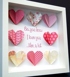 I Love you Valentines Frame with Paper Hearts Valentines Day Gift Wedding First Anniversary Paper Anniversary Gift Custom Wall Art Valentines Frames, Valentines Day Decorations, Valentine Crafts, Valentine Day Gifts, First Anniversary Paper, Anniversary Gifts, Wedding Anniversary, Origami Rose Box, Custom Wall